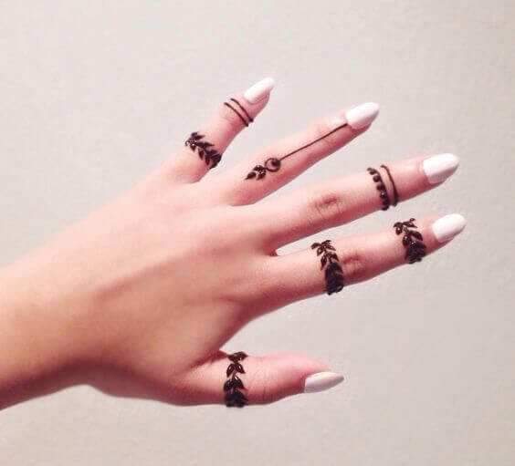 easy simple leafs finger mehndi design