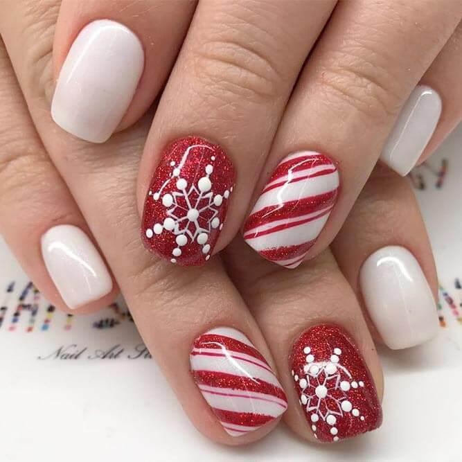 festive christmas winter acrylic nail art design
