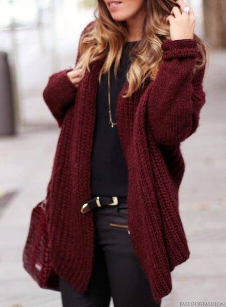 knitted oversized cardigan-sweater outfit ideas for school