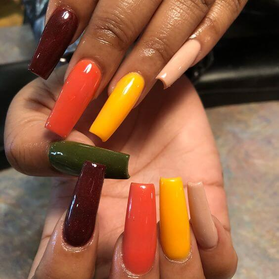 long colorful coffin acrylic nails