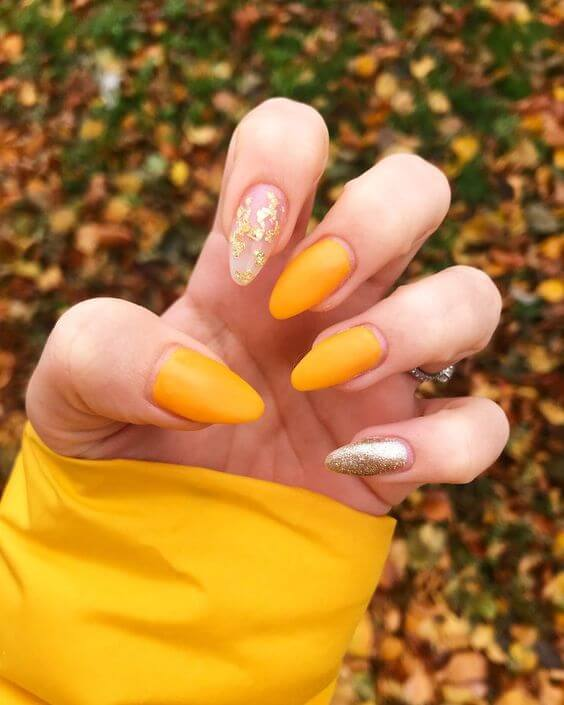 mustard yellow nails nude glitter and silver designs