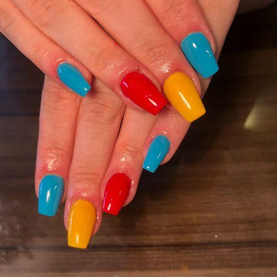 red yellow and blue nails