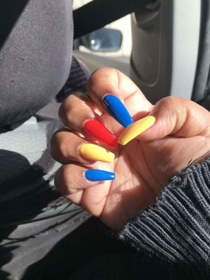 red yellow blue acrylics