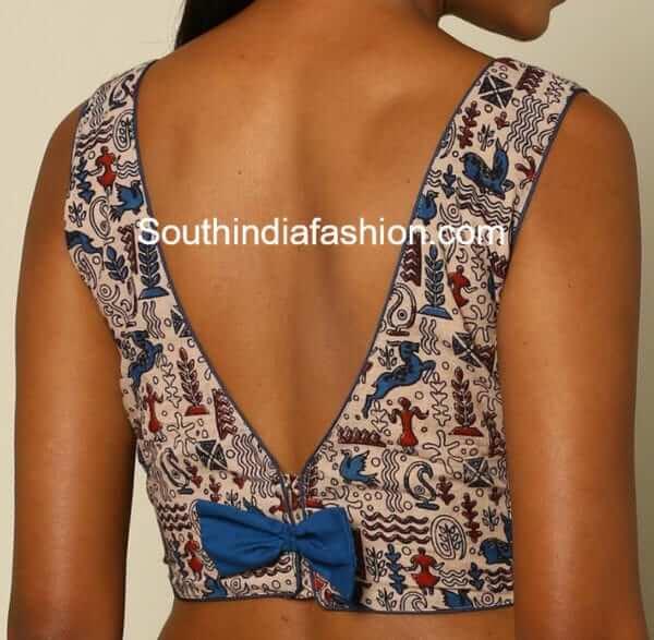 v shape blouse back design with bow
