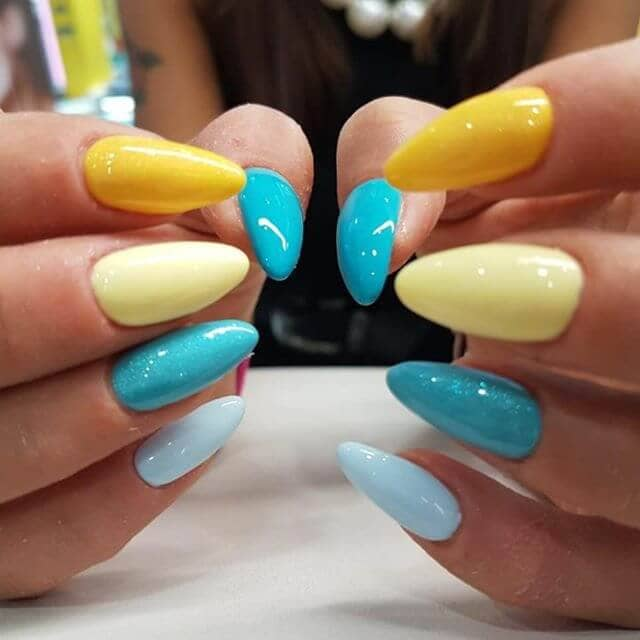 yellow and blue coffin nail designs