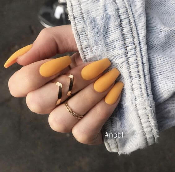 yellow matte coffin nails
