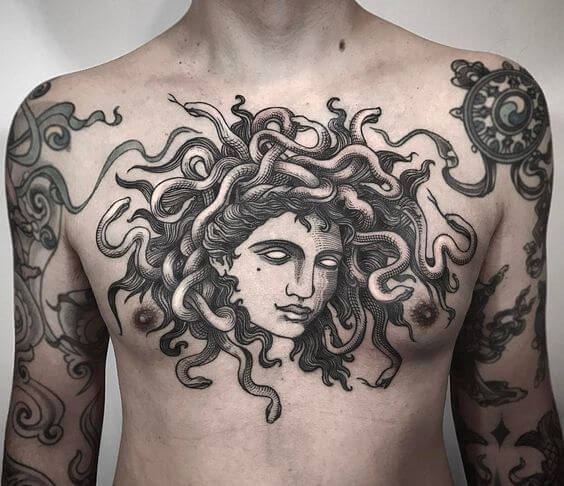 ancient medusa tattoo design on chest