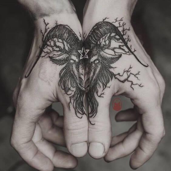 baphomet tattoo design on back hands