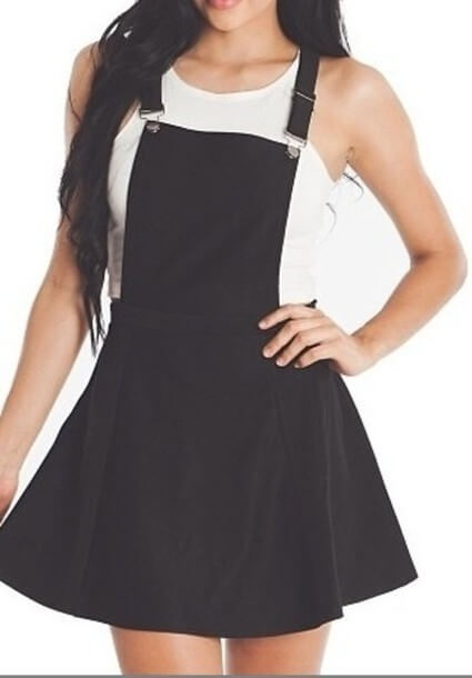 cute black overall denim skirt outfit ideas for girls