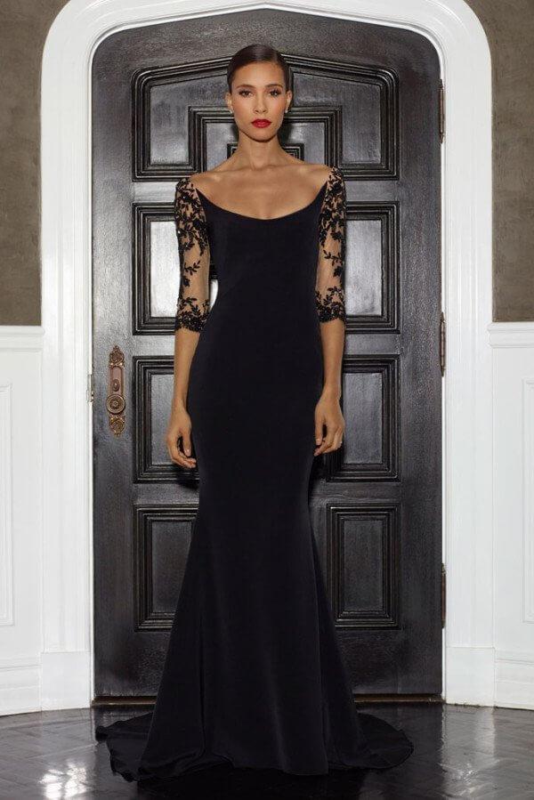 elegant black dress looks with red lipstick makeup