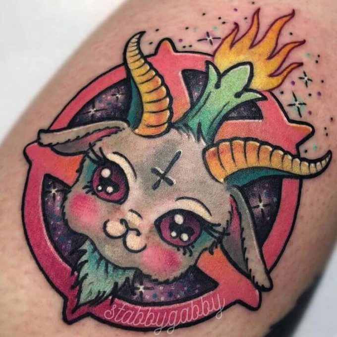 girly satanic goat tattoo