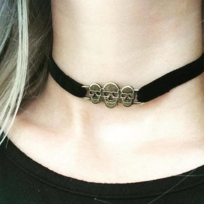 gothic choker skull necklace jewelry