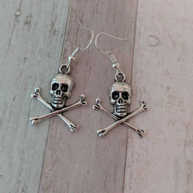 gothic skull and bones earrings jewelry