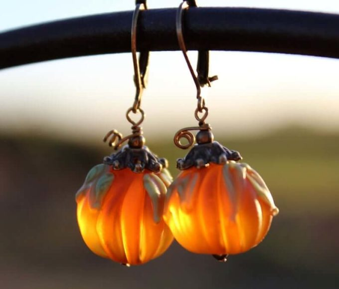 halloween pumpkin earrings jewelry