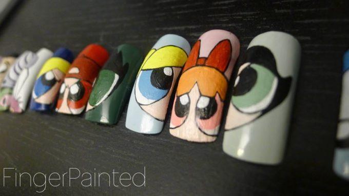 powerpuff girls nail art designs