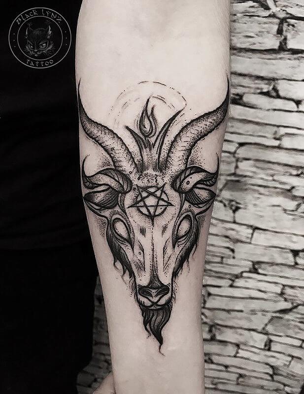 satanic goat skull tattoo