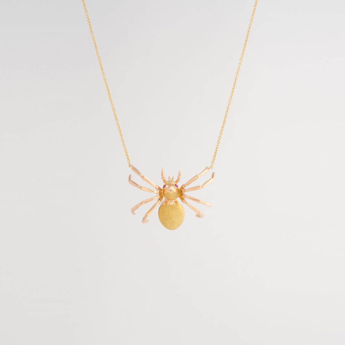 vintage gold ruby spider necklace