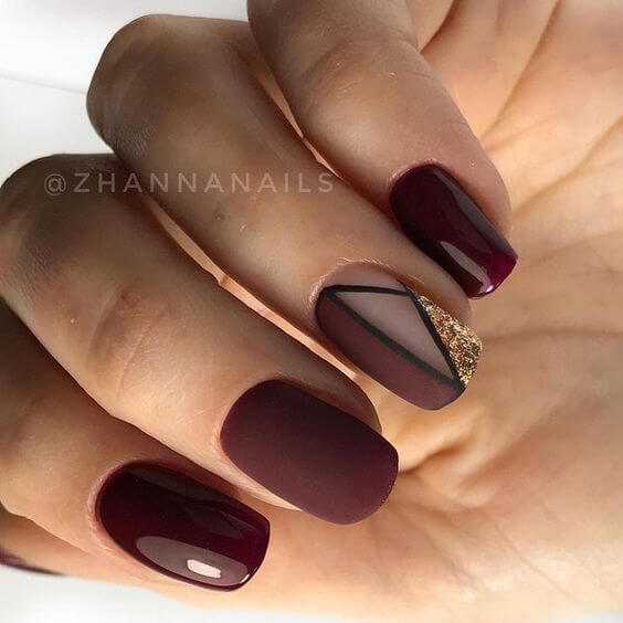 acrylic burgundy nail designs