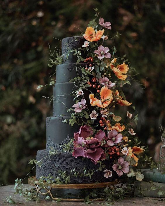 beautiful black with flowers wedding cake for halloween