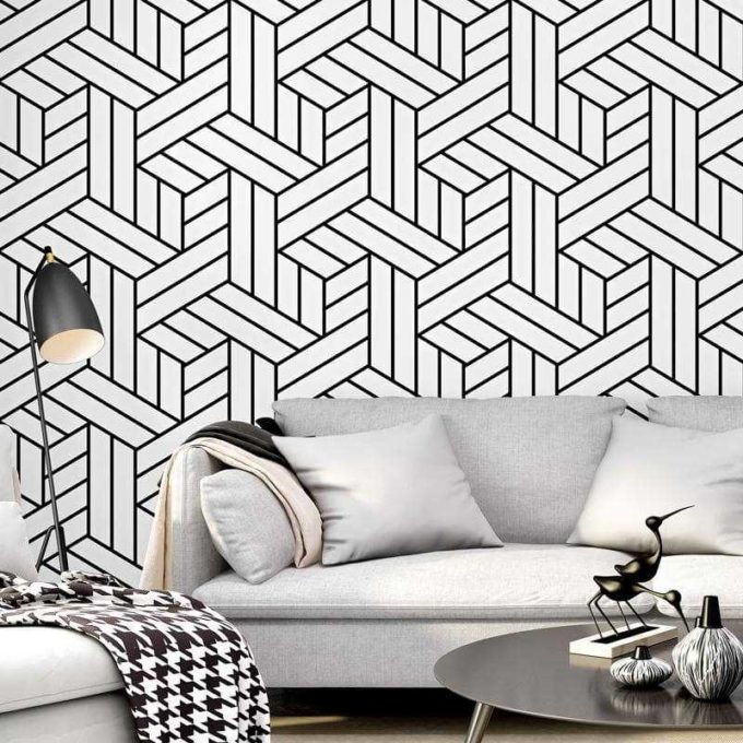 black and white pattern room