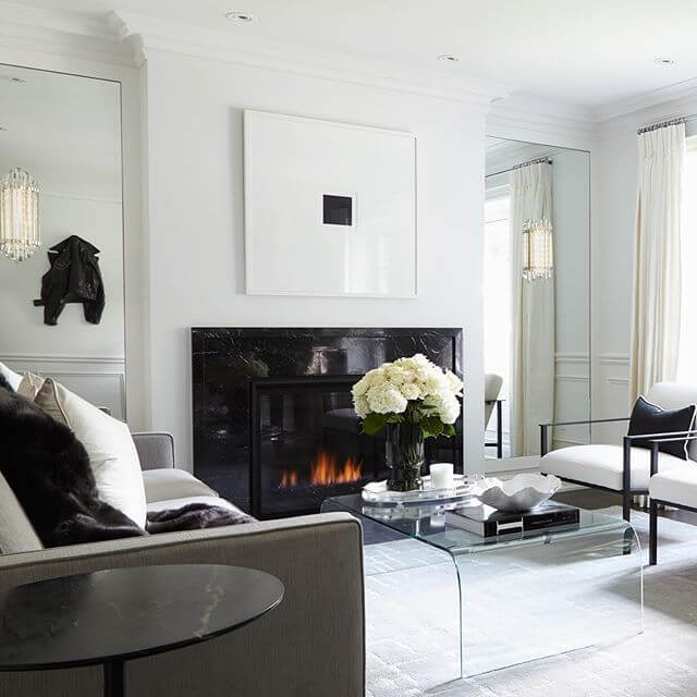 black and white room with fireplace decor