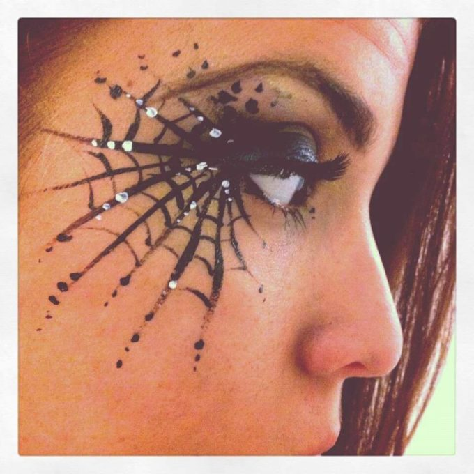 cobweb eye makeup with rhinestones