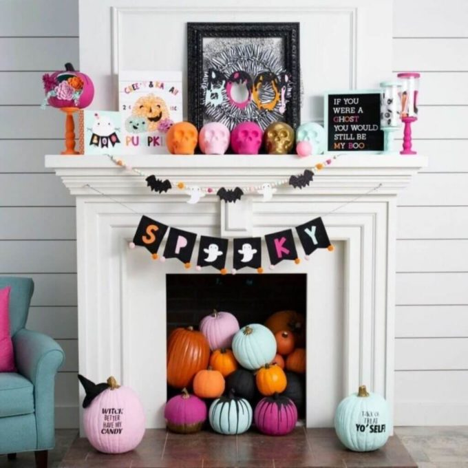 coloirful halloween fireplace decor