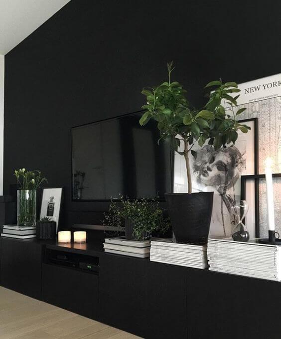 contemporary dark interior room decor