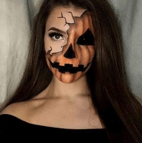 cool scary pumpking halloween face paint ideas