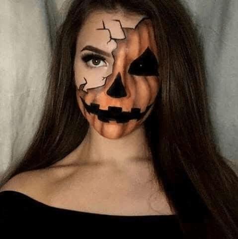 cool scary pumpking halloween face paint ideas
