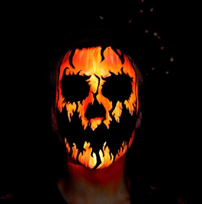 creepy jack-o'-lantern halloween face paint ideas