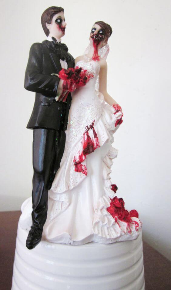 dead zombie bride and groom topper for halloween birthday cake