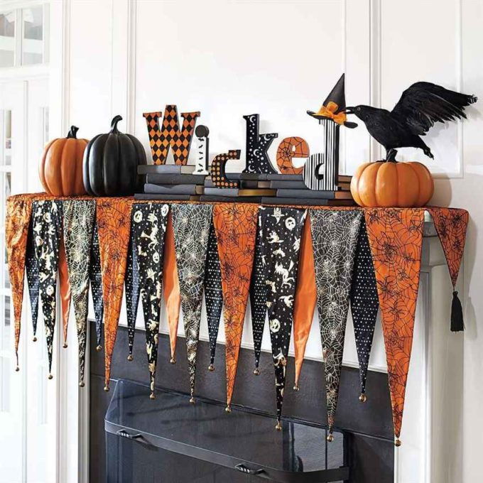 diy halloween fireplace decor with fabrics