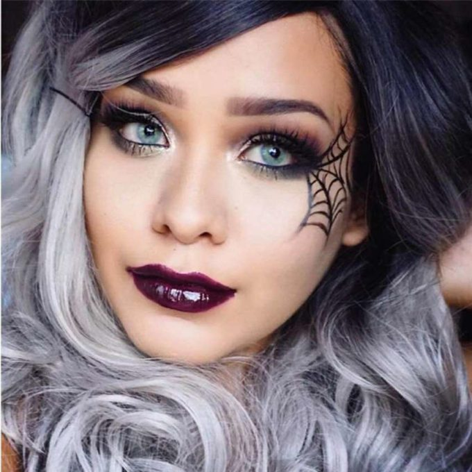 easy spider web halloween makeup