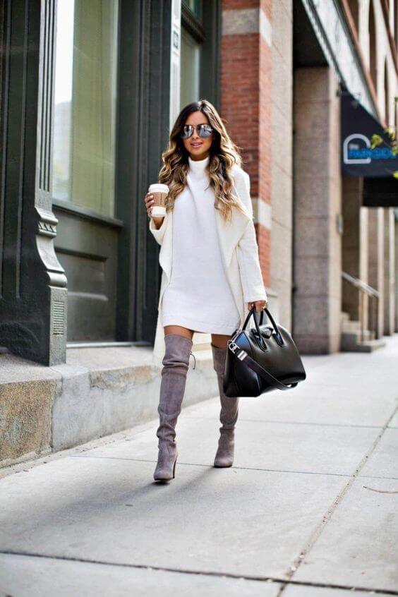 fall sweater dress outfit ideas