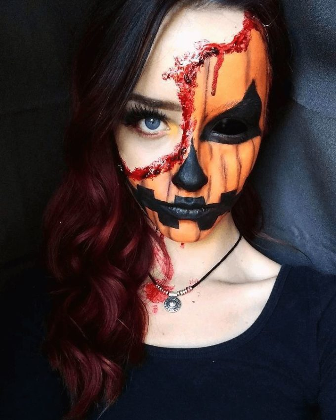 half face wounded pumpkin makeup