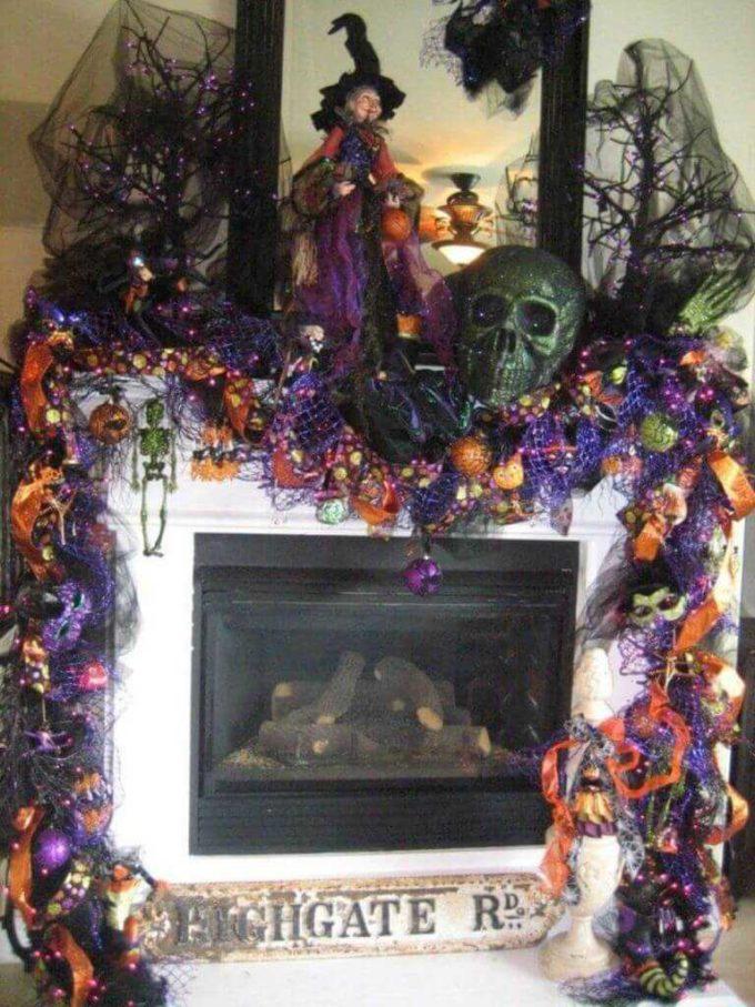 halloween fireplace decortive ideas