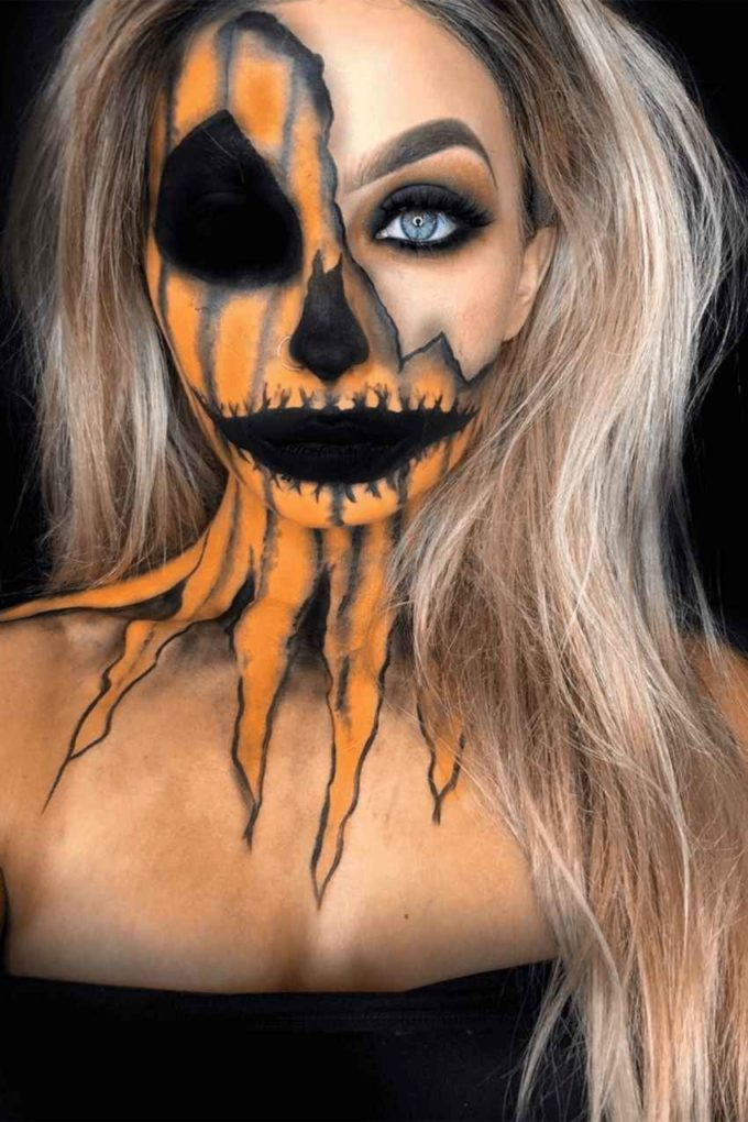 halloween jigsaw pumpkin face makeup looks for women