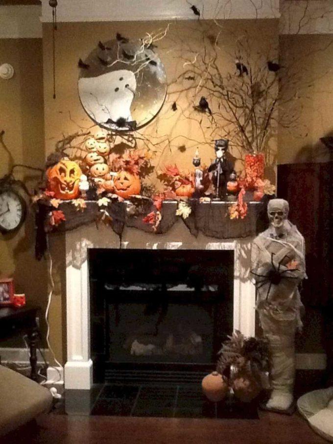jack o lantern fireplace mantel halloween decorations