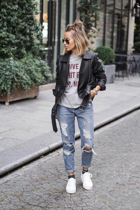 leather jacket outfit ideas for fall
