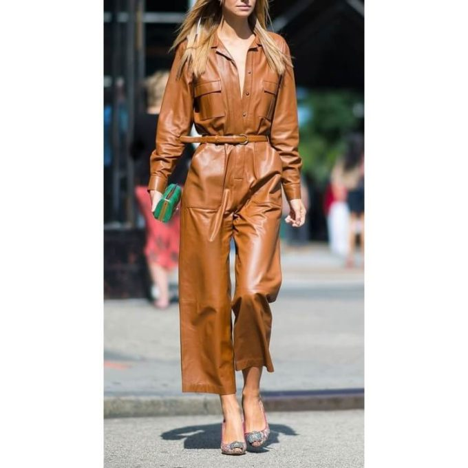 loose fit brown leather jumpsuit Overall