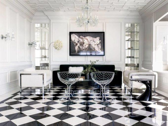 modernist black and white interior design
