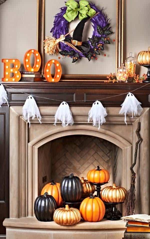 painted pumpkins fireplace mantel decor ideas for halloween
