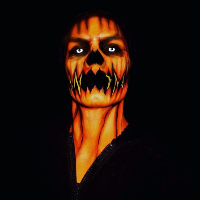 scary halloween pumpkin face paint ideas for men