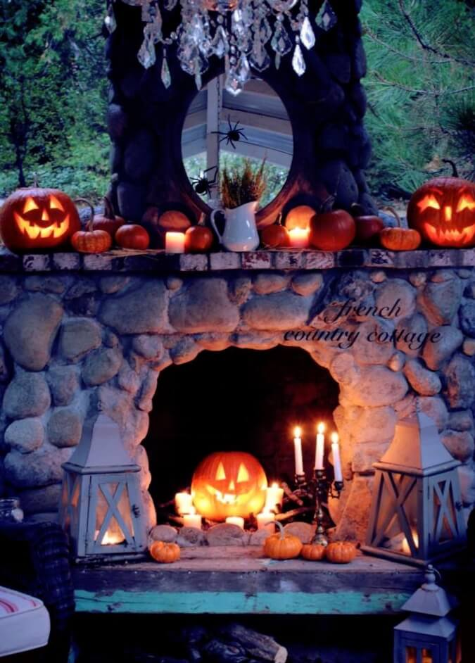 scary jack o lantern fireplace decor ideas