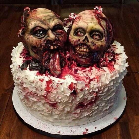 scary zombie heads wedding cake