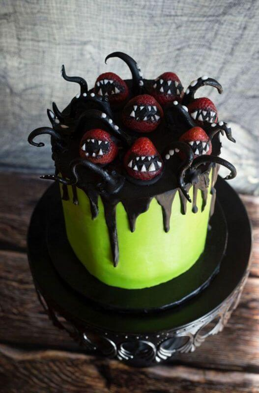 spooky monster strawberries halloween wedding cake