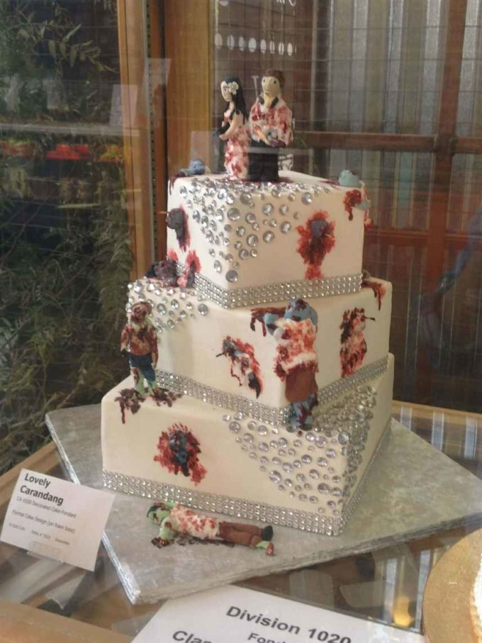 square dead zombies halloween wedding cake