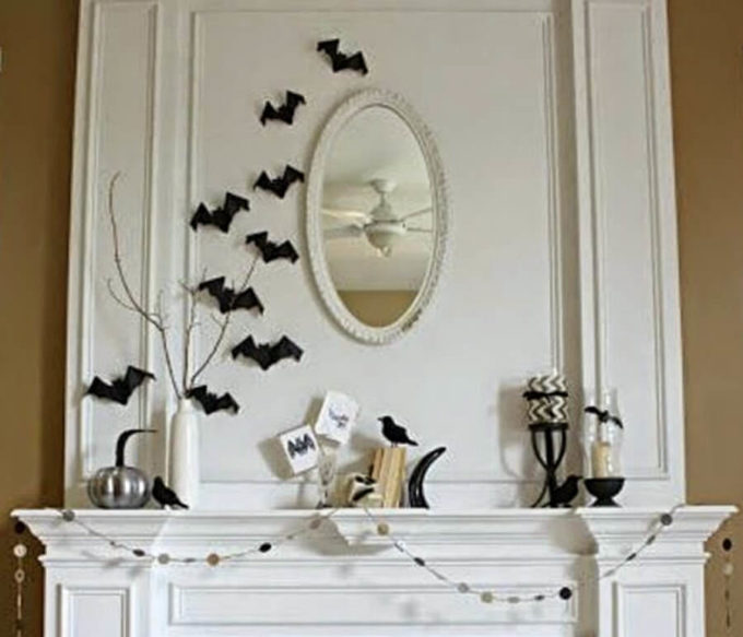 stylish halloween black and white interior decorations