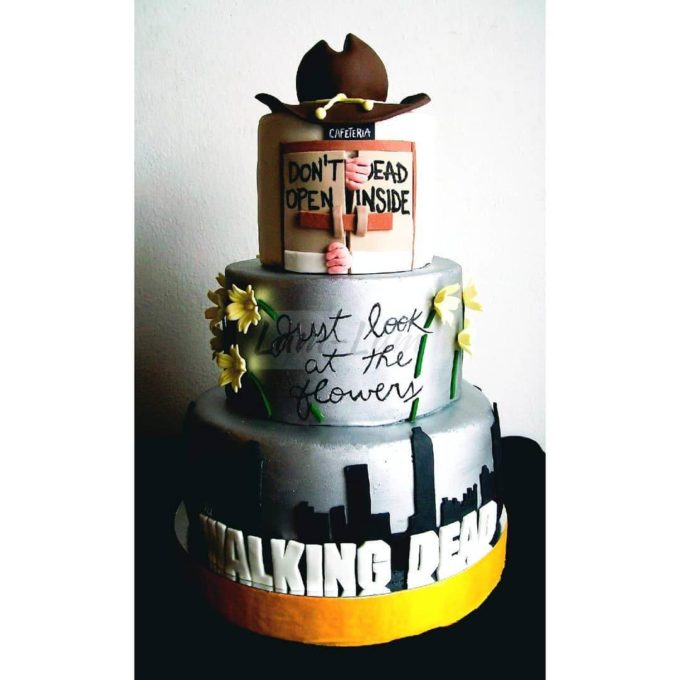 the walking dead inspired halloween wedding cake